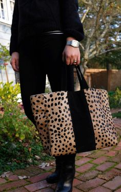 iomoi cheetah leather tote with racer stripe-- IN LOVE!