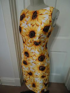 CHETTA B Bright Yellow Sunflower Print Sleeveless 100% Silk Sheath Dress Size 4