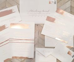Rose Gold Foil Wedding Invitations from Wiley Valentine for our Clients Kaitlin + Danny