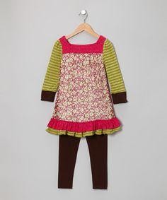 Look at this #zulilyfind! Fuchsia Floral Tunic & Brown Leggings - Infant, Toddler & Girls #zulilyfinds