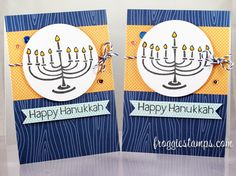 Lawn Fawn - Happy Hanukkah, Sweater Weather 6x6 paper, Navy Notecards, Blue Jay Lawn Trimmings _  Beautiful Hanukkah Cards by Kelli (FroggieStamps) via Flickr - Photo Sharing!