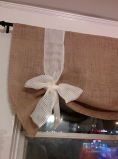 Handmade Tie Up Natural Burlap Valance