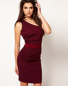 Hybrid Pencil Dress With One Bow Shoulder Red Day 0576b001b