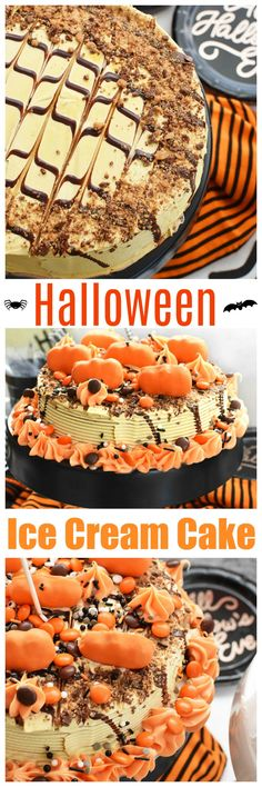 """With a little creativity, it's easy to see outside of the """"box"""" when it comes to turning a store-bought ice cream cake into a tasty, festive Halloween Cake. Reese's Ice Cream Cake, Reeses Ice Cream, Love Ice Cream, Chocolate Ice Cream, Halloween Cakes, Halloween Treats, Diy Halloween, Reeses Cake, Spider Cake"""