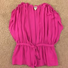 Haute hippie silk tie cardigan Pink. Ruffles at shoulders. Tie at waist. Size L. In great condition! I could never figure out a way to style it so it's been sitting in my closet for over a year! :( Haute Hippie Tops Blouses
