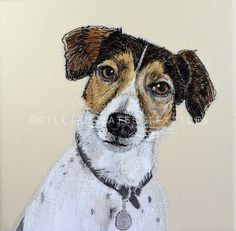 Jack Russell  Embroidered Textile Art Canvas by gillianbates