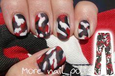 Red, Black, White & Gray Nail Design (red camo)