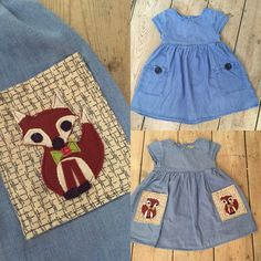 denim dress with DIY felt fox appliqué pockets