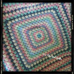 Granny square blanket by www.facebook.com/tinybirdcrafts in pinks, blues and cream