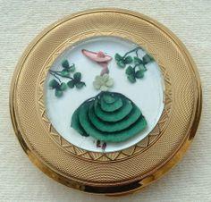 Vintage Reverse Carved Kigu Powder Compact CRINOLINE LADY & LUCKY CLOVER LEAF