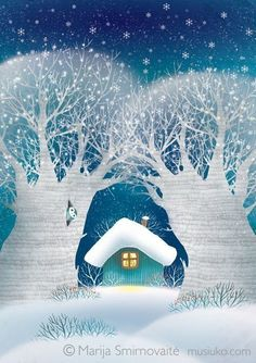 Christmas is comming 2014 on Behance - Christmas Drawings 🎅 Winter Illustration, Christmas Pictures, Artist Inspiration, Fantasy Art Landscapes, Naive Art, Whimsical Art, Art, Pictures, Christmas Drawing