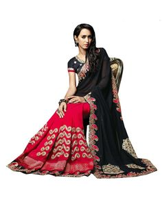 Black Lace Work Saree Check out all the details of this product here: http://www.ethnicstation.com/black-lace-work-saree-vl1711  #LaceWorkSaree #EthnicWear