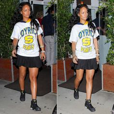 Rihanna wearing Joyrich Paris team hoodie, Alexander Wang pleated mini skirt, Air Jordan Retro VI Brazil World Cup sneakers.