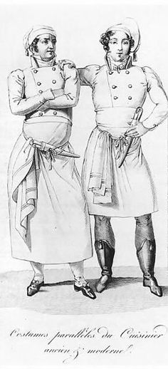 Costumes of cooks from different eras. French chefs, 1822
