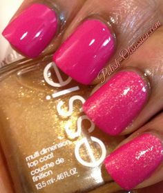 @essie As Gold As It Gets layered over Essence Ultimate Pink
