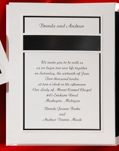 This bright white card is stunning with it's simple, yet classic black border. Your names will be featured above a black band.