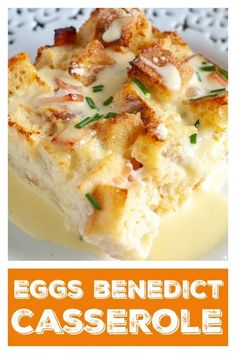 Eggs Benedict Casserole Eggs Benedict Casserole is a great breakfast/brunch for a crowd. Make the night before and bake in the morning. Perfect for the holidays! Egg Benedict, Eggs Benedict Casserole, Eggs Benedict Recipe, Brunch Casserole, Casserole Recipes, Western Breakfast, Breakfast Toast, Savory Breakfast, Breakfast Bowls