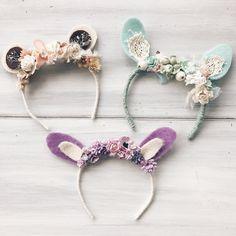 Set of three baby headbands, Bunny headband, newborn props, Bunny ears, Bear ears, photo props, baby