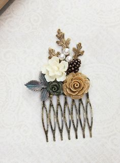 Bridal Hair Comb Leaf Neutral Pine Cone Nature by apocketofposies