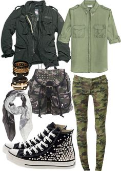 """Get your Army on!"" by monmonmacabre ❤ liked on Polyvore"