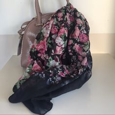 H&M sheer black scarf with rose pattern Dress up any outfit with this gorgeous scarf! H&M Accessories Scarves & Wraps