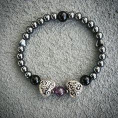 Amethyst, obsidian and hematite natural stone yoga zen healing bracelet available at: bellazenbracelets.etsy.com