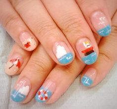 Seaside theme nail art: lovelish #olivenailart