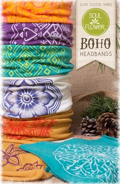 Organic Cotton + Recycled Plastic Boho Headbands from Soul Flower Clothing. Perfect for yoga class!