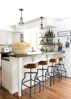 How to Decorate Kitchen Shelves can find Shelves and more on our website.How to Decorate Kitchen Shelves Farmhouse Style Kitchen, Modern Farmhouse Kitchens, Home Decor Kitchen, Rustic Kitchen, Home Kitchens, Kitchen Ideas, Small Kitchens, Decorating Kitchen, Modern Open Kitchens