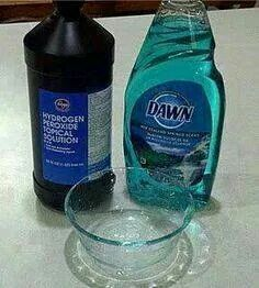 1 tea. Dawn, 4 tab. Peroxide, 2 tab. Baking soda. Scrub out stains. Even set in stains