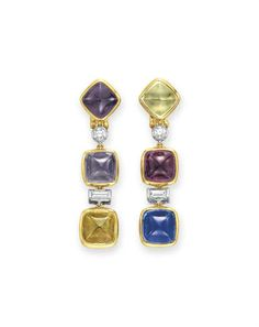 A pair of colored sapphire and diamond ear pendants #christiesjewels