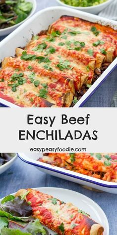 Quick, simple to prepare and packed full of delicious Mexican flavours, these Easy Beef Enchiladas are the perfect dinner to whip up on a busy weeknight, when you still want to eat well. Enjoy with all your favourite Mexican side dishes, such as guacamole Mince Dishes, Beef Dishes, Minced Beef Recipes Easy, Easy Beef Enchiladas, Beef Enchilada Recipes, Rib Roast Recipe, Mexican Side Dishes, Cooking Recipes, Healthy Recipes