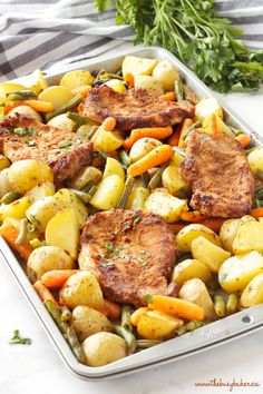 Easy Pork Chop Sheet Pan Dinner {Weeknight Meal} - The Busy .- Easy Pork Chop Sheet Pan Dinner with 4 pork chops and herbs - Pan Pork Chops, Pork Chops And Potatoes, Boneless Pork Chops, Meals With Pork Chops, Pork Chop Meals, Oven Roasted Pork Chops, Healthy Pork Chops, Easy Pork Chop Recipes, Healthy Recipes