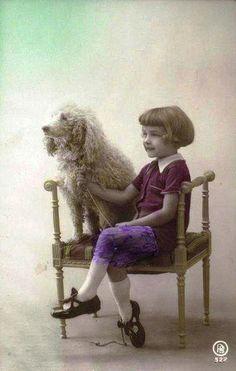 Vintage Postcard ~ Little Girl w/ Poodle