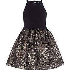 Girls black jacquard prom dress $44.00
