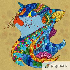 Hope you're Caturday is going purrrfectly! This colorful page is from Kuroyo! Have you tried the Pigment coloring app yet? It's the best adult coloring app for iPhone, iPad, and Android, with over 2200 coloring pages and 24 different colored pencil, marker, brush, and fill options to choose from! Coloring Book Art, Coloring Apps, Adult Coloring, Pigment Coloring, Zentangle, Colored Pencils, Marker, Fill, Mandala