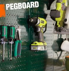 Pegboard is a perforated surface (usually wood or metal) that allows for easy storage with the use of s-hooks and pegs. It's often used in work rooms and storage areas to maximize vertical space.