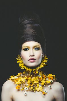 """Queen of the dollhouse"" - craspedia, ornithogalum, mokara, begonia and solidago on aluminium wire frame. Concept and neck piece by NO NO NO, photo by Vlad Birdu, make-up by Mihaela Cherciu, hair by Claudiu Alex Sarghe, model Andra Dumitrache - MRA Models."