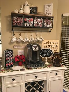 32 Affordable DIY Mini Coffee Bar Design Ideas There are over 32 stylish home coffee stations to get inspired. Some of these home coffee bar ideas are easy to do it yourself using vintage coffee kitchenware and cheap old furniture from a thrift store. Coffee Bars In Kitchen, Coffee Bar Home, Coffee Wine, Iced Coffee, Coffee Bar Ideas, Coffee Bags, Cappuccino Coffee, Drinking Coffee, Hot Coffee