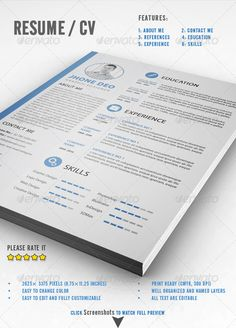 Resume / CV — Photoshop PSD #clean #cv • Available here → https://graphicriver.net/item/resume-cv/8057325?ref=pxcr