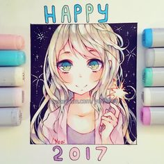 A little late but Happy New Year everyone (o´ω`o)ノ Thank you all so much for the positivity and support this year, I appreciate it very much. I hope you all had a great year despite all the chaos (honestly 2016 was insane on so many levels ._.) and let's have a great 2017 together~ (◡‿◡✿) - -#copic #multiliner #copicmarkers #cansonpaper #micronpen - -#art #drawing #copicart #anime #animegirl #illustration #animeart #newyear #2017
