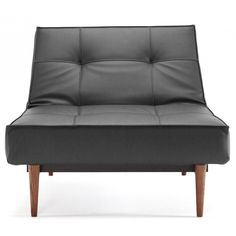 Splitback Black Leather Textile Chair / Dark Wood Legs by Innovation