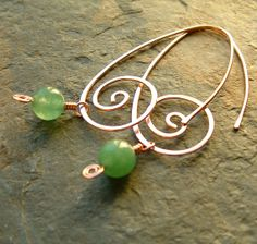 Copper Hoop Earrings Long Coiled Hoops Dangle by ArtistiKat, $26.95