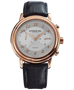 Raymond Weil Watch, Men's Swiss Automatic Chronograph Maestro Brown Leather Strap 42mm 4830-PC5-05658