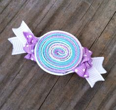 Lavender, Aqua, and White Wrapped Candy Ribbon Sculpture Hair Clip Bow.... Free Shipping Promo.  via Etsy.