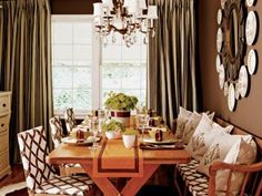 fran keenan dining room from cottage living--I like that the table is not centered to the window.  I wanted to do this in my dining room, but felt it was against the rules