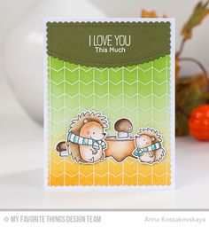 Happy Hedgehogs Stamp Set and Die-namics, Chevron Grid Background, Stitched Scallop Basic Edges Die-namics, Blueprints 27 Die-namics - Anna Kossakovskaya  #mftstamps