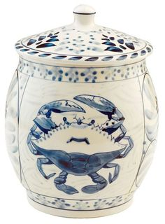 """This 9.25""""""""t Blue Crab Bay Stoneware cookie jar is hand painted with a beautiful blue crab design, is a perfect addition to your beach cottage kitchen! Its' design was originated by Eastern Shore art"""