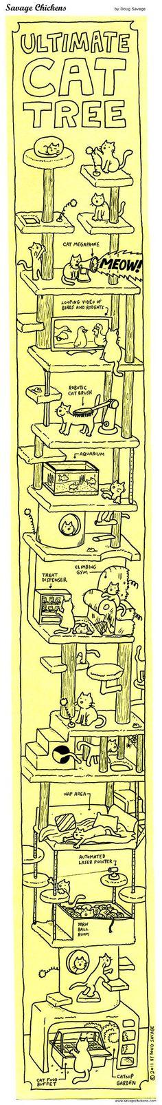 Ultimate Cat Tree Cartoon | Savage Chickens – Cartoons on Sticky Notes by Doug Savage