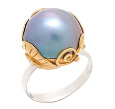 Soho by Neda Behnam Yellow Gold Plate Sterling Silver Peacock Pearl Ring